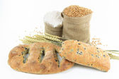 Mediterranean Black olive breads and products. — Stock Photo