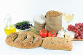 Mediterranean olive breads and food raw products. — Stock Photo