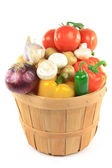 Vegetables in wooden bushel basket. — Stock Photo