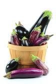 Assorted Eggplants in Bushel Basket on white. — Stock Photo