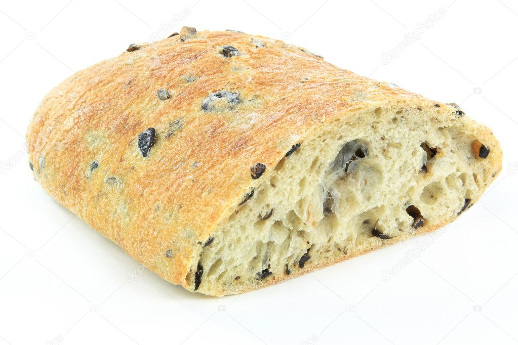 Mediterranean Ciabatta Black olive bread. — Stock Photo © morning ...