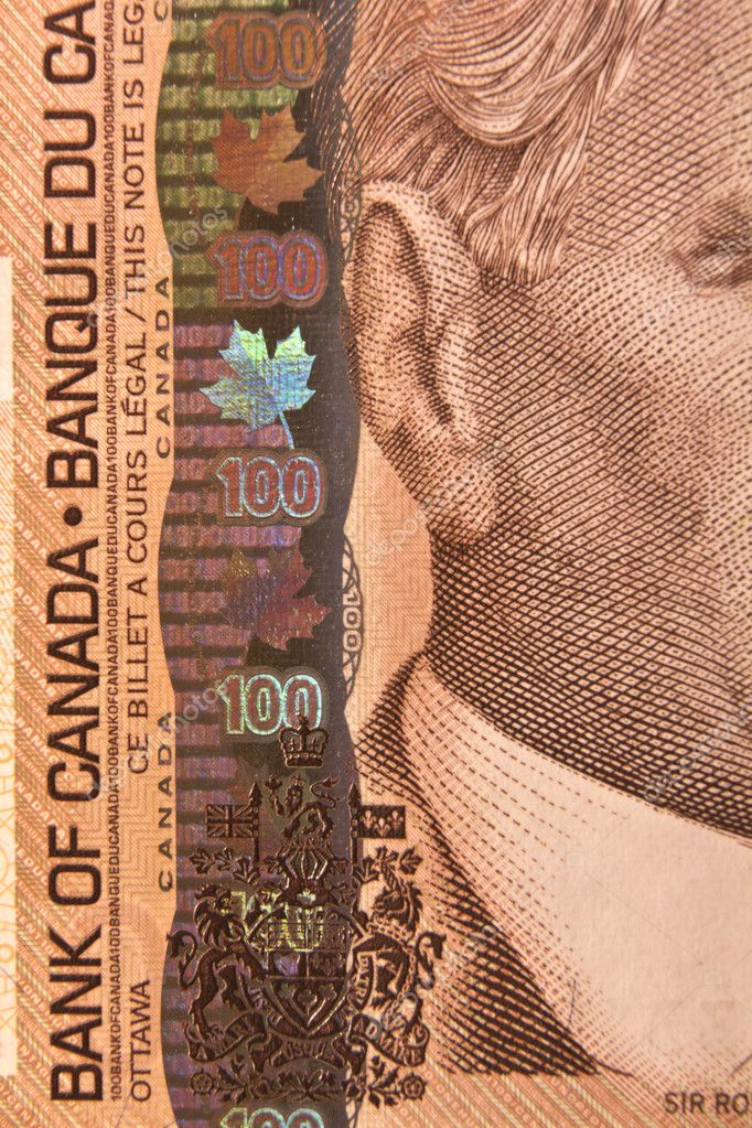 Closeup of the portrait of Sir Robert Borden on a 100 dollar Canadian bill — Stock Photo #5079906