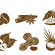 Stock Vector: Set of vector icons dessert ingredients
