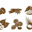 Set of vector icons dessert ingredients — Stock Vector