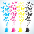 Stock Vector: Cans of paint and butterflies