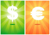 Illustrations of signs the dollar and euro — Stock Vector