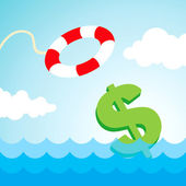 Lifebuoy and a dollar sign — Stock Vector