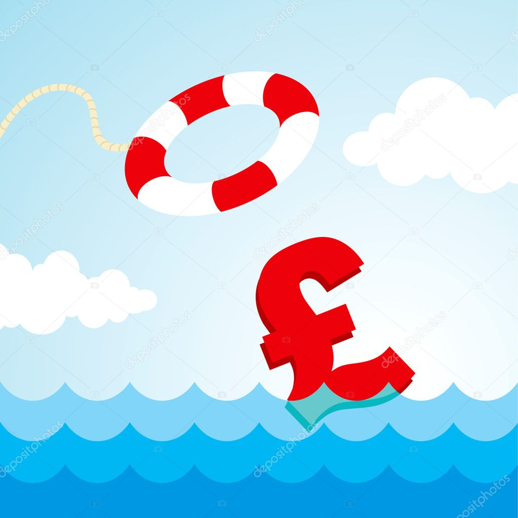 Sinking pound sign and the flying lifebuoy  Stock Vector #5234503