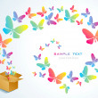 Open box and the butterfly - Imagen vectorial