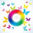 Abstract bright background with butterflies — Stock Vector