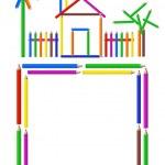 Color Pencils Frame — Stock Vector
