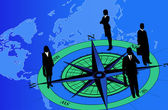 Businessmen on Compass — Stock Vector