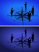 Businessmen on Compass — Stock Vector