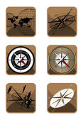 Compass and Map Icons — Stock Vector