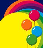 Balloons and Rainbow — Stock Vector