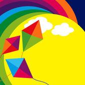 Kites and Rainbow — Stock Vector