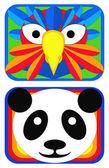 Bird and Panda Masks — Stock Vector