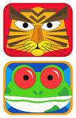 Tiger and Frog Masks — Stock Vector