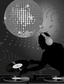 Dj and Disco Ball — Stock Vector
