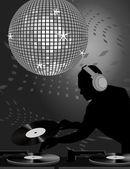 Dj and Disco Ball — Stock Vector