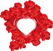 Telaio a forma di cuore con rose — Vettoriale Stock