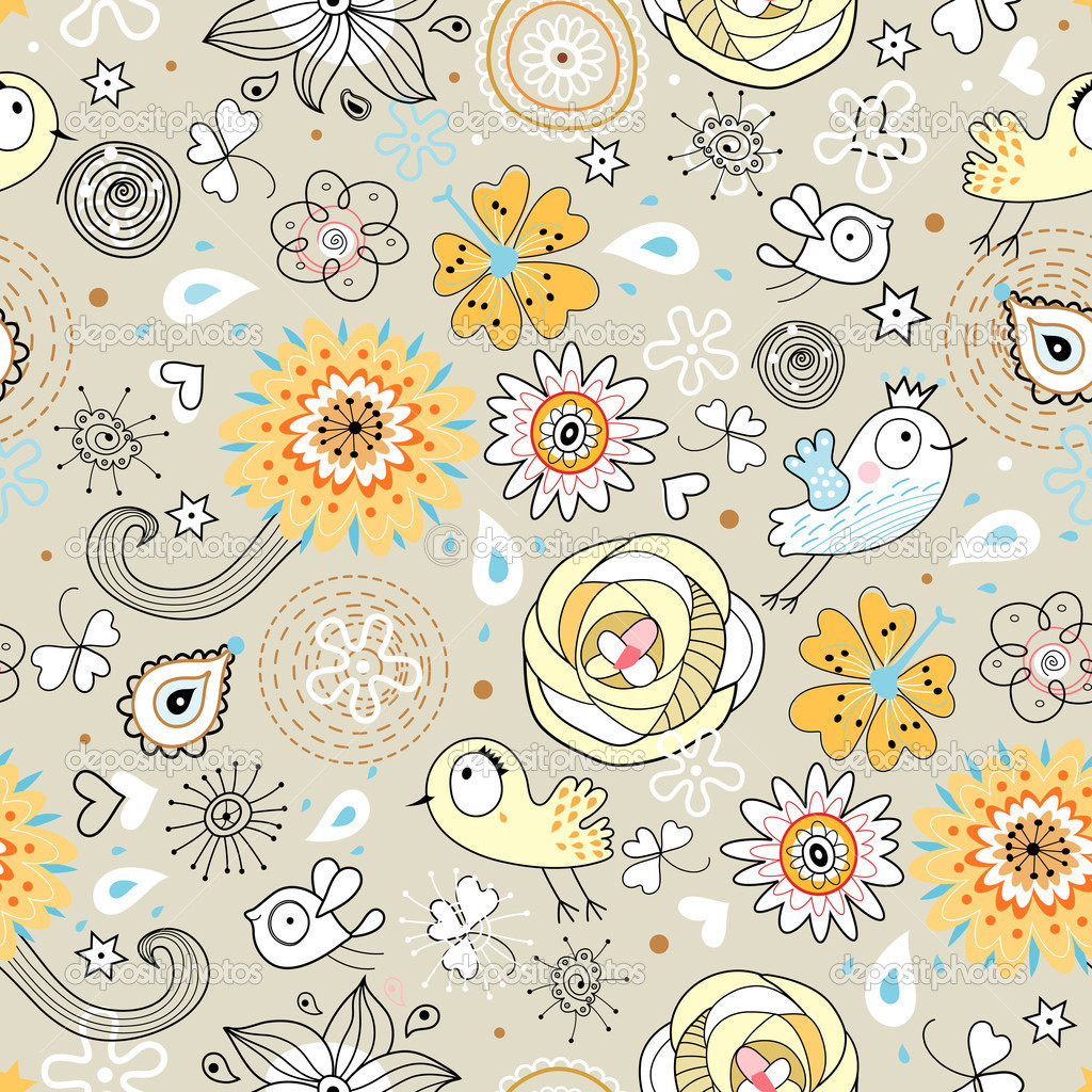 Yellow And Gray Floral Pattern birds on a gray background