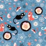 Texture love cats — Stock Vector