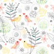 Royalty-Free Stock Vector Image: Seamless floral pattern with birds in love