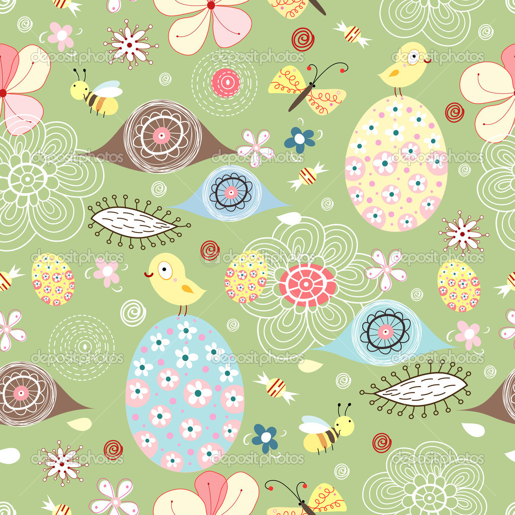 Seamless Floral Pattern With Easter Eggs Stock Vector C Tanor 4950529