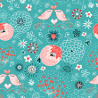 Texture love birdies on flowered -  