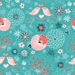 Texture love birdies on flowered — Stock Vector