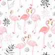 Seamless pattern with a passionate pink flamingos — Stock Vector