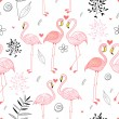 Stock Vector: Seamless pattern with passionate pink flamingos