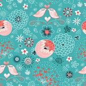Passarinhos de textura amor em flor — Vetor de Stock