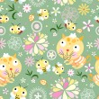 Royalty-Free Stock Vector Image: Seamless floral pattern with bees and kittens