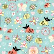 Vector de stock : Texture dogs and bees on the flowers