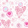 Stock Vector: Texture pink hearts