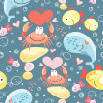 Pattern of gay marine animals — Stock Vector