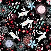 Kwiatowy wzór z królików — Wektor stockowy