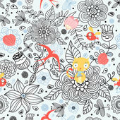 Floral pattern with cats and birds — Vecteur