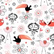 A pattern of funny birds — Vettoriale Stock  #5213386