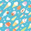 A pattern of funny ice cream — Stock Vector