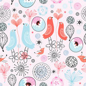 Pattern love birds — Stock Vector