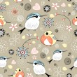 Natural pattern with birds — Cтоковый вектор