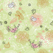 Textura de flor con aves — Vector de stock