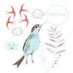divertido pájaro primavera — Vector de stock