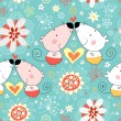 Floral pattern with lovers mice — Stock Vector #5325330