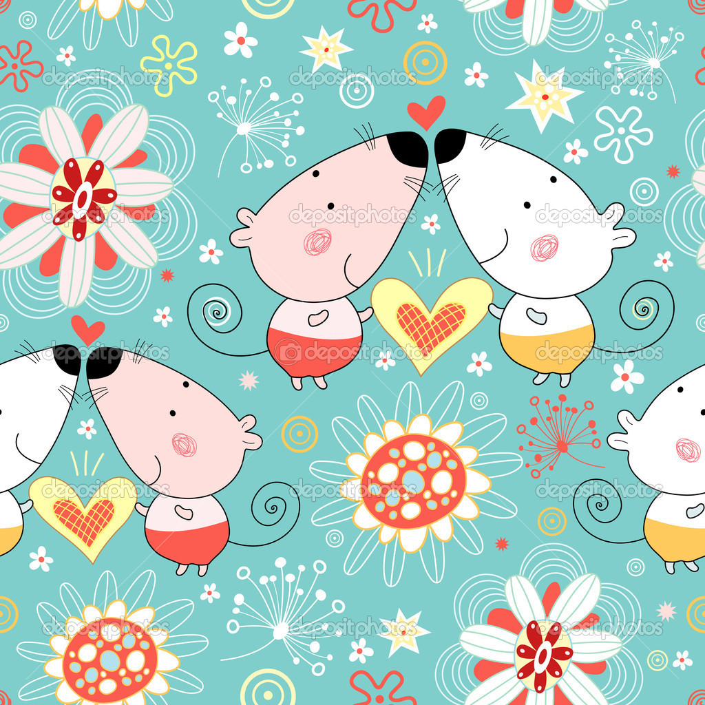 seamless floral pattern with fun lovers mice on a blue background — Stock Vector #5325330