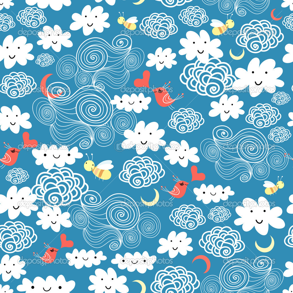 Pattern of the fun of clouds stock vector tanor 5366904 for Fun pattern wallpaper