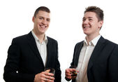 Young businessmen whisky — Stock Photo